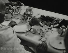 1933 Original MAHATMA GANDHI At Breakfast Table By ARAL Photo Gravure Art 11X14