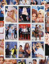 Turkmenistan 2000 MNH V.I.P. TV Series Pamela Anderson 9v M/S Celebrities Stamps