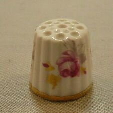 """CANADIAN CLASSIC ROSES THIMBLE-Bone China-Gold Band-About 7/8 x 7/8"""""""
