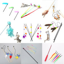 Funny Cat Feather Wand Stick Wire Teaser Kitten Toy Bell Interactive Play Toys