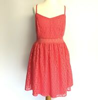 Strappy Coral Pink Lace Fit and Flare Cami Dress UK Size 10 12 Festival New Look
