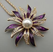Purple Enamel Crystal Pearl Flower Pendant Chain Necklace/Brooch