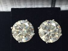 8.44 ct I SI natural round diamond 4 prong stud solitaire earrings platinum