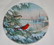 "Vintage Cardinals in Winter Sam Timm Knowles Collector Art Plate 8.5"" Birds"
