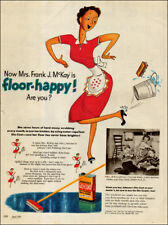 1951 vintage Ad Johnson's GLO-COAT Floor Wax , cute cartoon housewife 101617