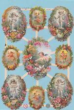 Gaufrettes,Feuilles chromos,Ferraille Ange/Elfes avec Couronne de fleurs EF 7364