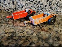 """Vintage Hubley Toy Manure Spreader - Red - 5"""" Long  Lot of 2"""