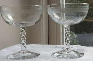 Pair of Victorian Champagne Saucers with twisted stems