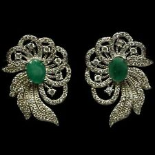 """55 CTS!! LOVELY!! NATURAL AAA RICH GREEN EMERALD 925 SILVER EARRINGS 1 1/4"""""""