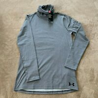 Under Armour Men's ColdGear Funnel Neck Fitted Shirt Gray UA 1320807 SZ M NWT