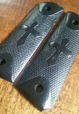 Full size 1911 Walnut Wood Grips with Engraved Cross, Stained Black