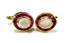 925 Sterling Silver Natural Ruby & Moonstone Gemstone Gold Plated Cufflinks