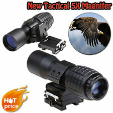 New Tactical 5X Magnifier Telescope Sight Scope Adjustable Flip to Side Mount