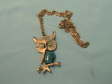 1 USED OWL PENDANT WITH FAUX LUCITE TURQUOISE AND SILVER NECKLACE
