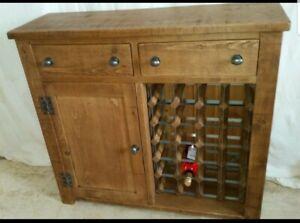 Real Solid Wooden WINE RACK SIDEBOARD cupboard Rustic Plank Indigo Furniture