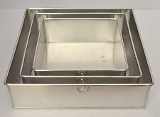 "3 Tier Square Aluminium Cake Tin Baking Pan 6"" 8"" 10"""