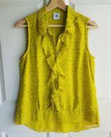 Cabi Womens Chartreuse Sleeveless Ruffle Reign Blouse Top Shirt Size Small 3071