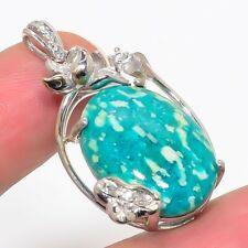 "Russian Amazonite, Cz 925 Sterling Silver Jewelry Pendant 1.4"" P543-115"