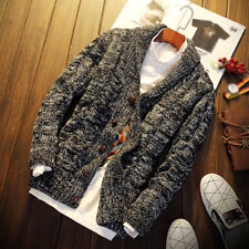 Mens Chunky Collar Cardigan Sweater Shawl Knitted Jumper Coat Jacket Warm Tops