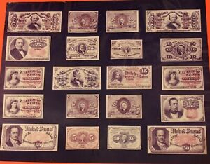 """20 DIFFERENT FRACTIONAL CURRENCY PHOTOS - Size is 20"""" X 16"""" READY TO FRAME - NM"""