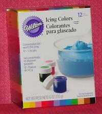 12 Icing Colors (Gel) Set,Wilton,.5 oz.Jars,Multi-colors,601-5580,Food Coloring