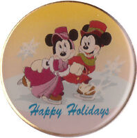 Disney Cast Happy Holidays Mickey Mouse & Minnie Mouse Skating Pin