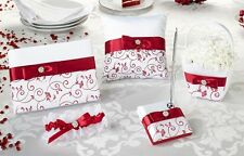Floral Swirl 5 Piece Wedding Collection - Black/White or Red/White