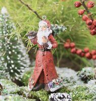 GISELA GRAHAM CHRISTMAS RESIN WOODLAND SANTA  WITH TREE DECORATION