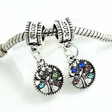 2pcs silver tree of Life European Charm Beads Fit 925 Necklace Bracelet SQ353