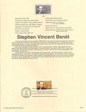 #9819 32c Stephen Vincent Benet #3221 Souvenir Page