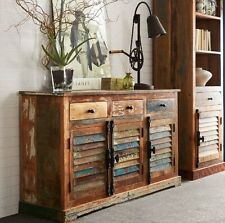 Shabby Chic Sideboard Large Wooden Indian Buffet Cabinet Vintage Retro Furniture
