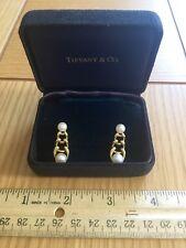Tiffany & Co. 2 Pearls 18k Yellow Gold Graduated Link Dangle Earrings IN BOX