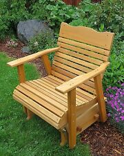 Wood Cedar Porch Glider Outdoor Furniture With Stained Finish Amish Crafted