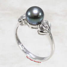 14k White Gold AAA Black Cultured Pearl & Diamonds Solitaire w/ Accents Ring TPJ