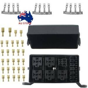 6 Way 12-Slot Relay Box 6 ATC/ATO Standard Fuses Holder with Metallic Pins AU