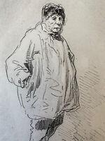 Gavarni gravure Eau Forte Etching Portrait Homme Paysan 1900