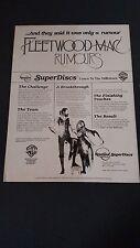"""FLEETWOOD MAC """"Rumours""""  Original Promo Poster Ad"""