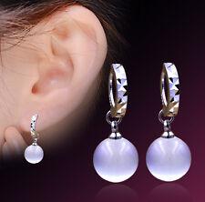 New Fashion Ladies 925 Sterling Silver Natural Opal Ear Stud Earrings Jewelry
