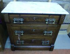 Antique Walnut Victorian Marble Top 3 Drawer Chest Washstand Dresser