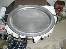ANTIQUE / VINTAGE SILVERPLATE ENGRAVED SERVING TRAY WM. ROGERS (AMERICA) 61cm