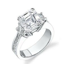 3.03 Ct. Stunning Asscher Cut Half moon & Princess cut  3-Stone Diamond Ring