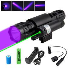 LED Night Hunting Light XPE UV Flashlight & Green Laser Dot Sight Beam Switch
