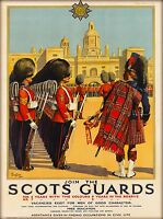 Join the Scots Guards Great Britain England Vintage Travel Art Poster Print