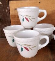 4 VTG Syracuse China Restaurant Ware Coffee Cups Turquoise & Pink Leaves