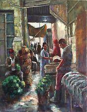 "ORIGINAL DAVID ALDUS OIL ""Marrakesh Medina"" Morocco Berber souk market PAINTING"