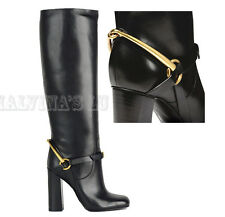 $1,590 GUCCI BOOTS TESS BLACK LEATHER LIFFORD TALL HORSEBIT sz IT 39 US 9