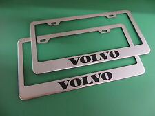 "(2)NEW "" VOLVO "" Stainless Steel license plate frame +screw caps"