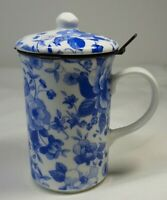 St. George Tea Cup With Lid and Strainer England Fine Bone China Blue Flowers