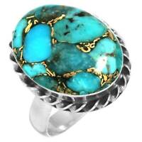 Copper Blue Turquoise Women Jewelry 925 Sterling Silver Ring Size 8 ha29500