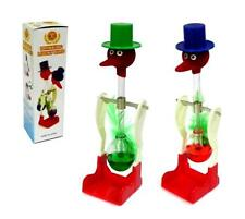 2 NOVELTY DRINKING BIRD w HAT continuous up & down motion WATER DRINK glass new